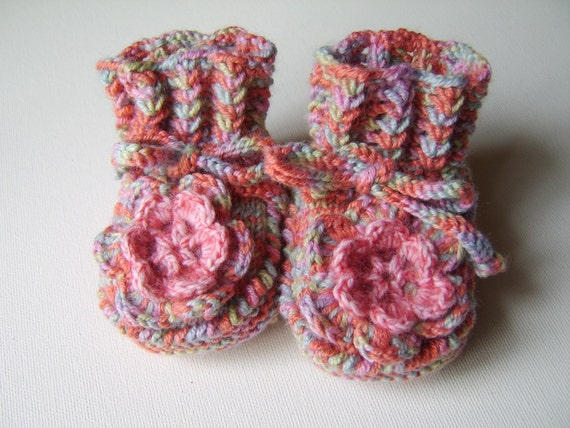 Hand Knitted Baby Booties with Crochet Flower - Multicolor, 3 - 6 months
