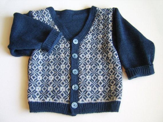 Knitted Baby Cardigan - Dark Blue, 1.5 - 2 years