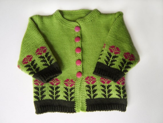 Knitted Baby Cardigan - Green, 0 - 3 months