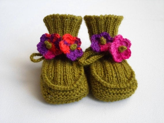 Hand Knitted Baby Booties - Moss Green, 3 - 6 months
