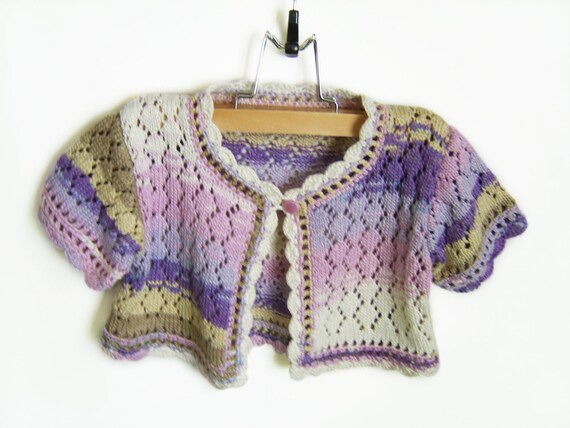 Knitted Toddler Girl Jacket,Luxury Bamboo Girl Short Sleeves Jacket-Lavender Pink, 2 - 3 years Spring Summer Lace Knitted  Sweetie Jacket