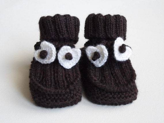 Hand Knitted Baby Booties - Dark Brown,  3 - 6 months
