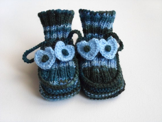 Hand Knitted Baby Booties - Blue and Green, 3 - 6 months