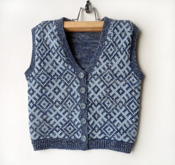 Knitted Baby Vest - Blue and Gray, 2 - 3 years