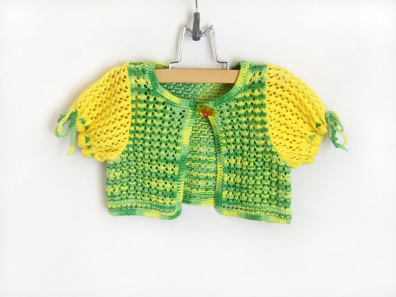 Knitted Baby Bolero Jacket - Yellow and Green, 1.5 - 2 years