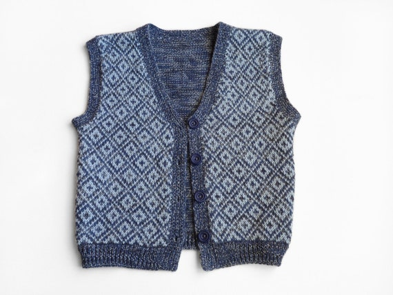 Knitted Baby Vest - Blue, 18 - 24 months
