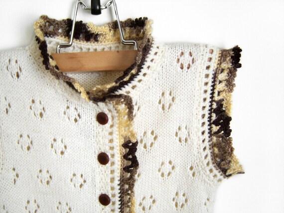 Knitted Baby Sleeveless Romper - White, 9 - 12 months