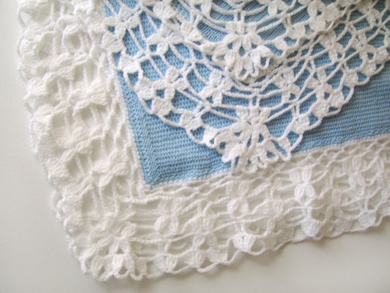 Knitting Edges For Baby Blankets : Knitted baby blanket light blue with white edges