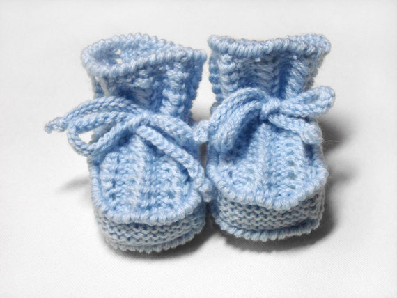 Hand Knitted Baby Booties - Light Blue, 0 - 3 months