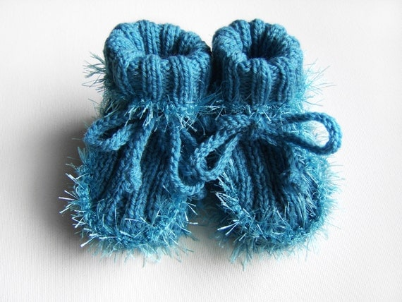 Hand Knitted Baby Booties - Blue, 3 - 6 months