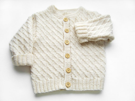 Hand Knitted Baby Cardigan - Natural White, 3 years