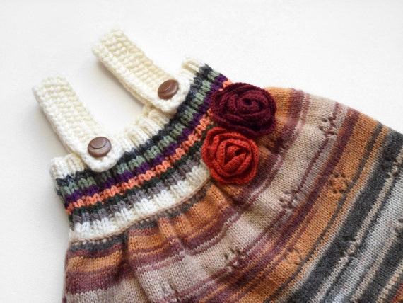 Knitted Baby Girl Dress, Handmade Baby Chlothing, Multicolor, Earthy Tones, Autumn colors, Size 9 - 12 months, Hand Knitted Baby Girl Dress