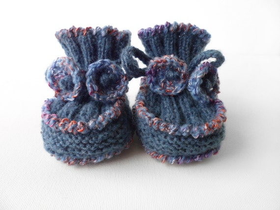 Baby Booties - Hand Knitted - Blue, 6 - 9 months
