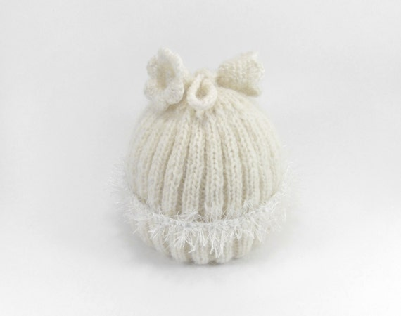 Knitted Baby Hat - Natural White, 3 - 9 months