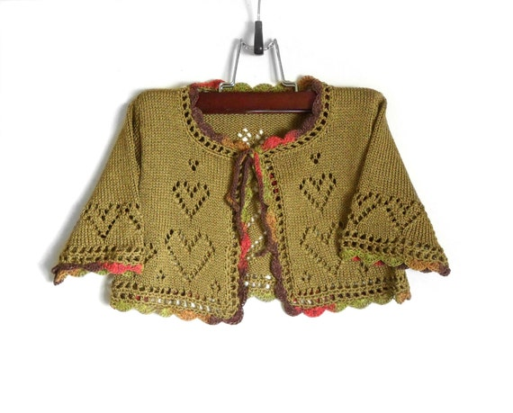 Knitted Baby Bolero Jacket - Olive Green, 2 - 2.5 years