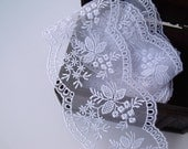 Custom order for Dee Bridal Floral Lace Trim White-Two (2) Yards