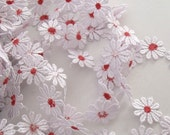 White With Red Daisy Trim-2 (Two) Yard