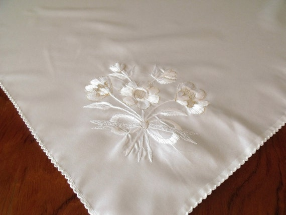 Vintage White Satin Embroidered Small Tablecloth