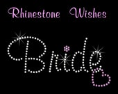 Bride with Heart in Murray Hill Font Rhinestone Transfer Iron On Wedding Bling DIY