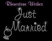 Just Married With Dangling Ring Rhinestone Transfer Iron On DIY Bling Wedding