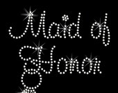 Maid of Honor with Dangling Ring in Murray Hill Font Rhinestone Transfer Iron On DIY Wedding Bling