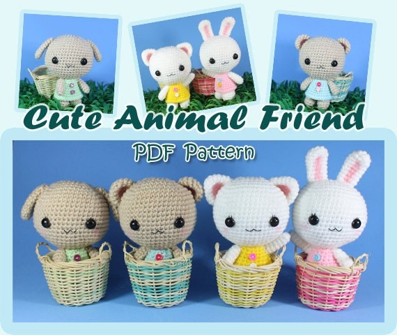 INSTANT DOWNLOAD PDF Pattern: Cute Animal Friend (cat, rabbit, bear, dog)
