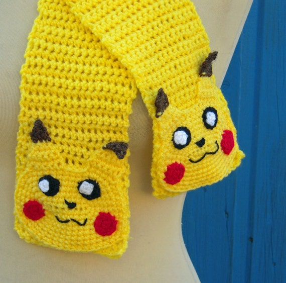 Crochet Pokemon Yellow Pikachu Scarf Adult or Childs Made