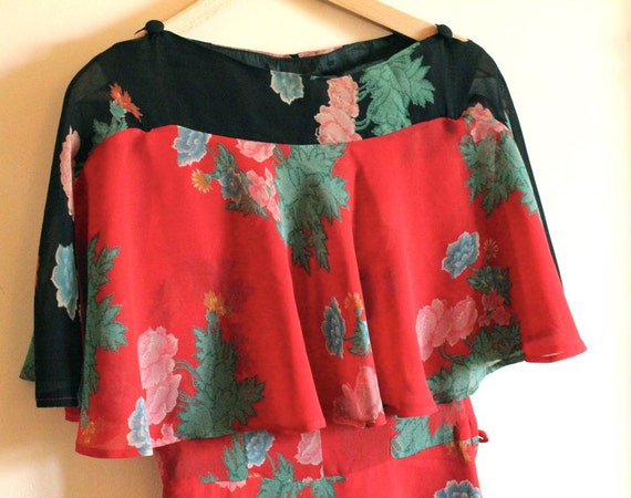 70s does 30s Red and Black floral Dress
