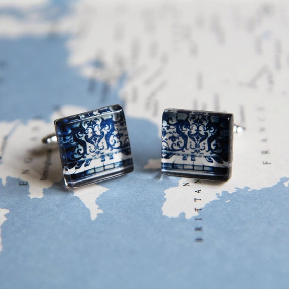 Navy Blue Piano Keys With Seahorse Photo Cuff Links - Silver Plated -- Free Shipping When You Buy TWO Or More Items