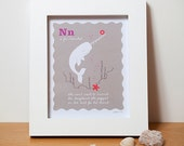 Narwhal, Alphabet Art, Nursery Print in Pink