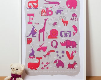 Animal Alphabet Poster, Nursery Art in Pink for a Baby Girl