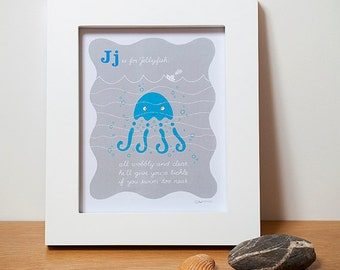 ABC Nursery Wall Art - Jellyfish - Sea Animals Alphabet Print  in Blue