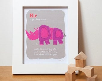 Safari Animals, Rhino Alphabet Print, Nursery ABC Wall Art in Pink