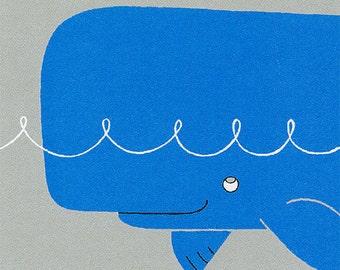 Childrens Art Print - Sea Animals - Whale Alphabet Print in Blue