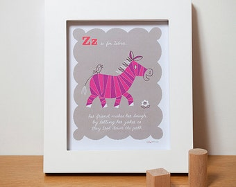 Children's Wall Art, Zebra Alphabet ABC Print in Pink