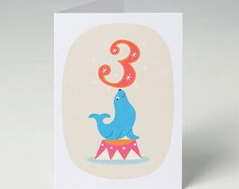 3rd Birthday Card - Seal - Carnival Circus Card