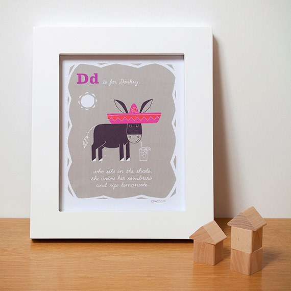 Donkey, Animal Alphabet ABC Print, Art for Kids in Pink