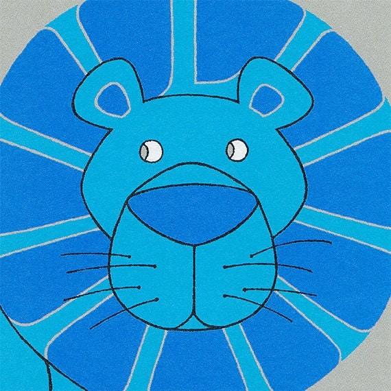 Lion, Jungle Nursery, Alphabet Art in Blue