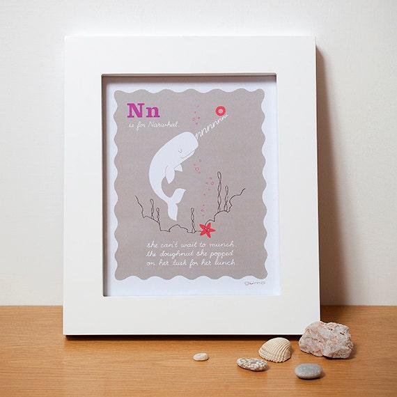 Narwhal, Alphabet Art, Nursery Print in Pink