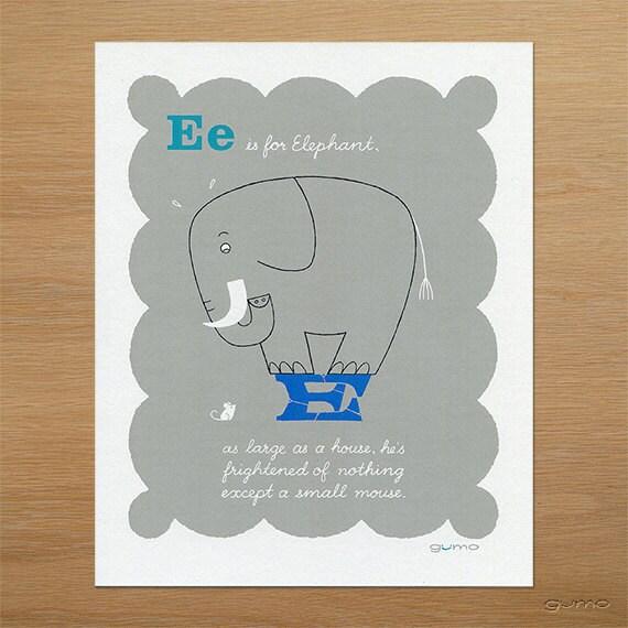 Elephant Nursery ABC Art, Baby Boy Alphabet Print in Blue