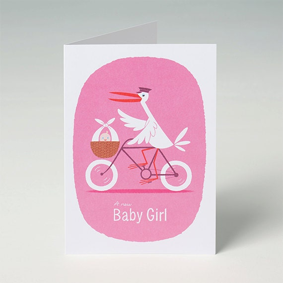 New Baby Card - Baby Girl Card in Pink