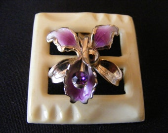 Vintage 1930s Brooch Vintage Re-Design Upcycle Pin 30's Belt Buckle with Vintage 50s Orchid Center