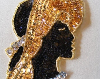 1980s Vintage Brooch Pin Black & Gold Sequined Ladies Head Vintage Costume Jewelry New Wave Fashions Large Size