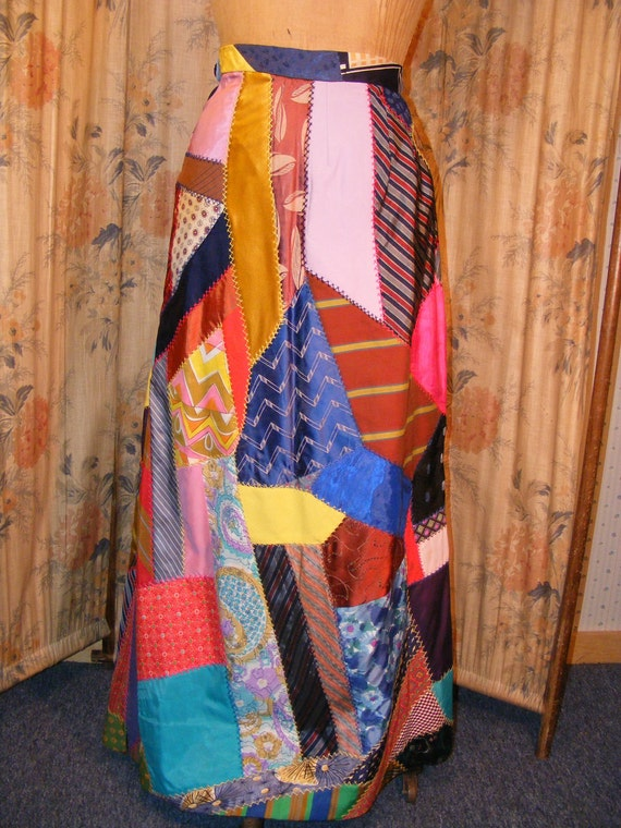 Vintage 1960s Maxi Skirt Crazy Quilt By Ladysslippervintage
