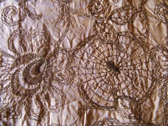 "Victorian Ribbon Spiders and Webs Gold Metal Thread Embroidery on Peach Silk Taffetta 7.5"" x 36"""
