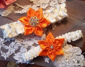 Bridal garter set, Ivory with Star Flower in Orange, Wedding Garter Set, All a Heart Desires Original Bridal Garter Set