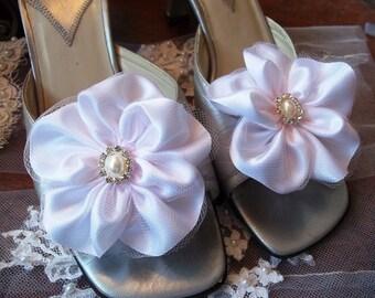 White Flower Shoe Clips - Flower Girl, Bridesmaid, Bride