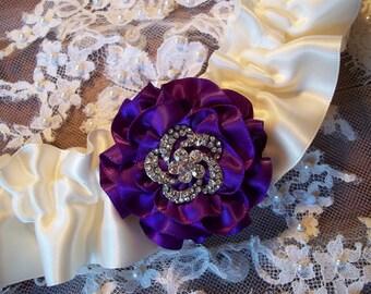 Wedding Garter with a Purple Rose on Ivory , Bridal Garter with Rhinestone Center, Prom Garter