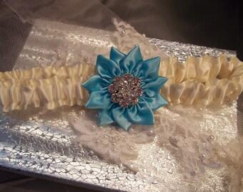 Wedding Garter, Prom Garter, Bridal Garter, Aqua Blue Garter, Robin Egg Blue, Ivory Garter, Rhinestone Wedding Garter, Toss Garter