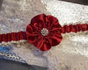 Wedding Garter / Prom Garter / Red Garter / Toss Garter / Ivory Garter / Bridal Garter / Vintage Garter / Rustic Wedding / Rhinestone Garter